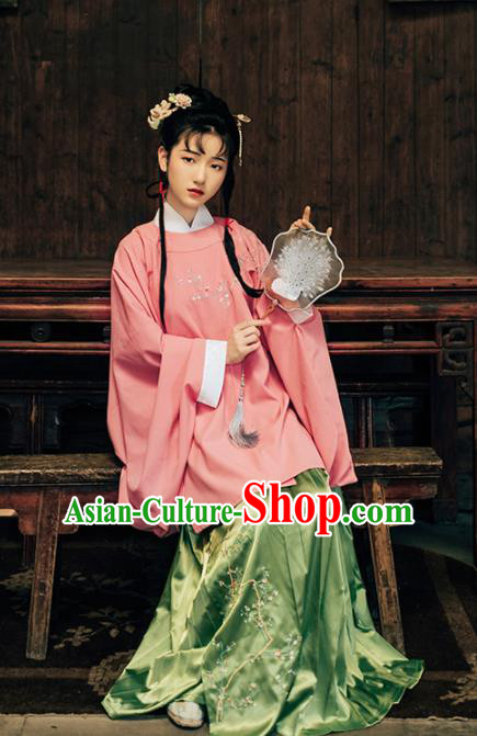 Asian Chinese Ancient Aristocratic Female Embroidered Hanfu Dress Traditional Ming Dynasty Historical Costume for Women
