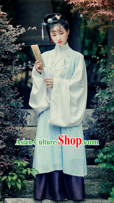Asian Chinese Ancient Princess Embroidered Hanfu Dress Traditional Ming Dynasty Court Historical Costume for Women