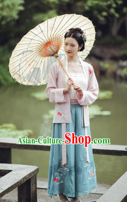Chinese Ancient Young Lady Embroidered Hanfu Dress Traditional Ming Dynasty Female Historical Costume for Women
