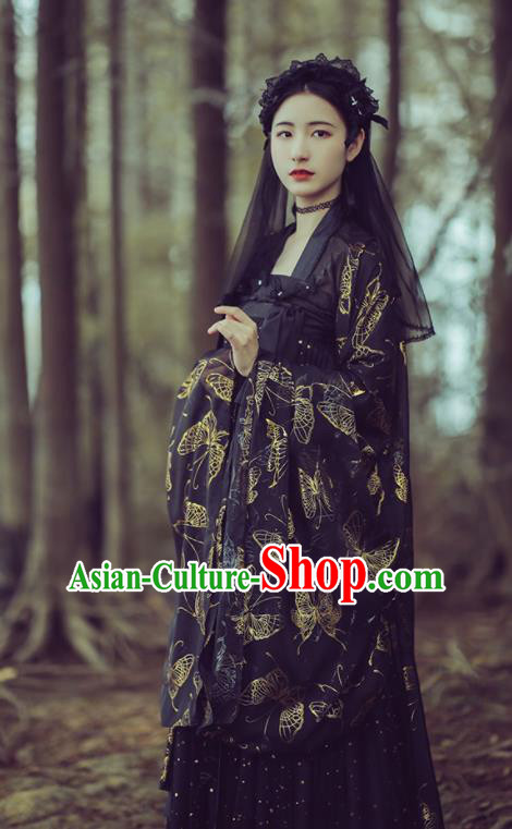 Chinese Ancient Peri Black Hanfu Dress Traditional Tang Dynasty Court Princess Historical Costume for Women