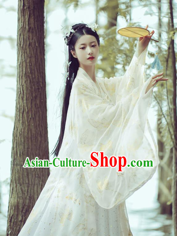 Chinese Ancient Peri Princess White Hanfu Dress Traditional Drama Tang Dynasty Court Lady Historical Costume for Women