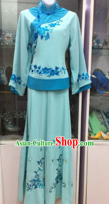 Handmade Chinese Beijing Opera Costume Peking Opera Actress Lake Blue Dress for Women