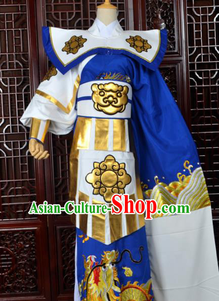 Handmade Chinese Beijing Opera General Costume Peking Opera Military Officer Royalblue Clothing for Men
