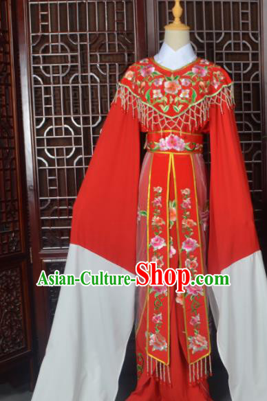 Handmade Chinese Beijing Opera Actress Costume Peking Opera Princess Embroidered Red Dress for Women
