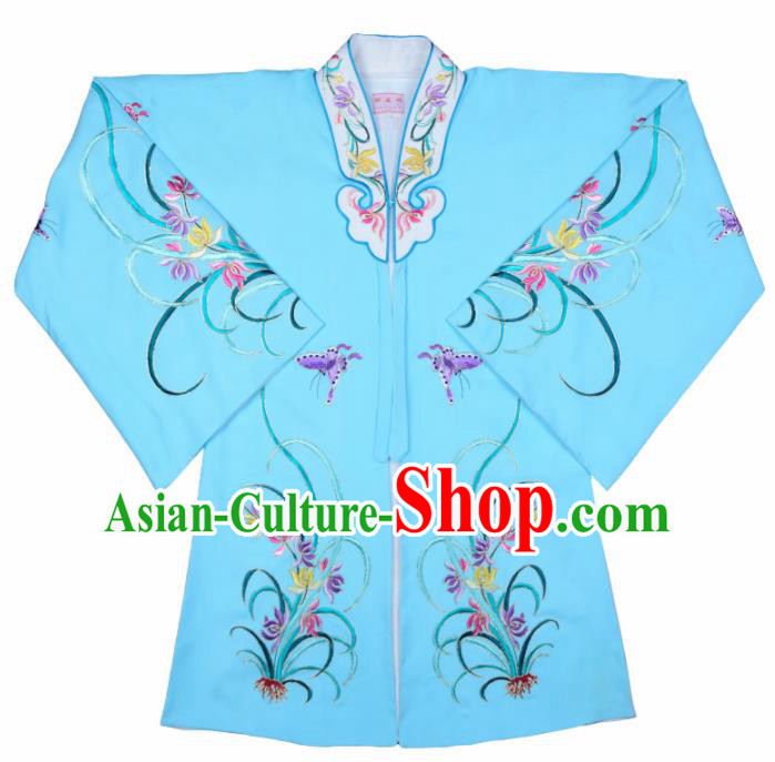Handmade Chinese Beijing Opera Embroidered Orchid Blue Cape Traditional Peking Opera Diva Costume for Women