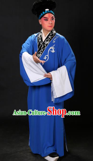 Handmade Chinese Beijing Opera Niche Costume Traditional Peking Opera Scholar Embroidered Blue Robe for Men