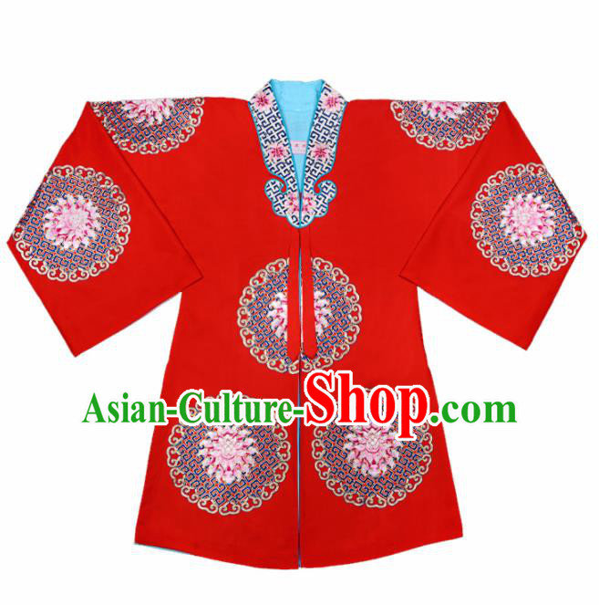 Handmade Chinese Beijing Opera Embroidered Red Cape Traditional Peking Opera Diva Costume for Women