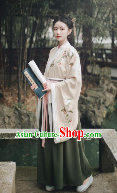 Ancient Chinese Han Dynasty Court Lady Hanfu Dress Traditional Princess Embroidered Historical Costume for Women