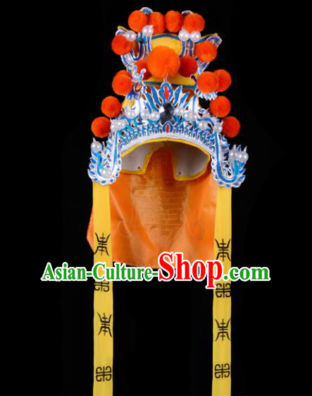 Chinese Handmade Beijing Opera Takefu Hat Traditional Ancient General Orange Helmet for Men