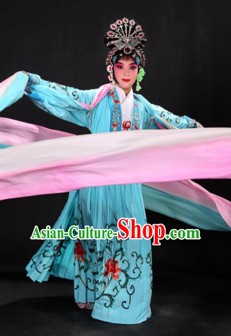 Handmade Chinese Beijing Opera Embroidered Peony Blue Dress Traditional Peking Opera Diva Costume for Women