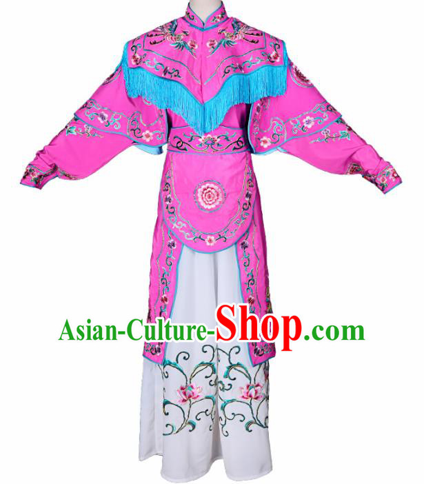 Handmade Chinese Beijing Opera Embroidered Rosy Dress Traditional Peking Opera Female Warrior Costume for Women