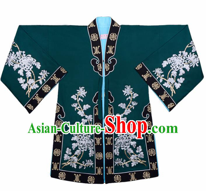 Handmade Chinese Beijing Opera Embroidered Atrovirens Blouse Traditional Peking Opera Diva Costume for Women