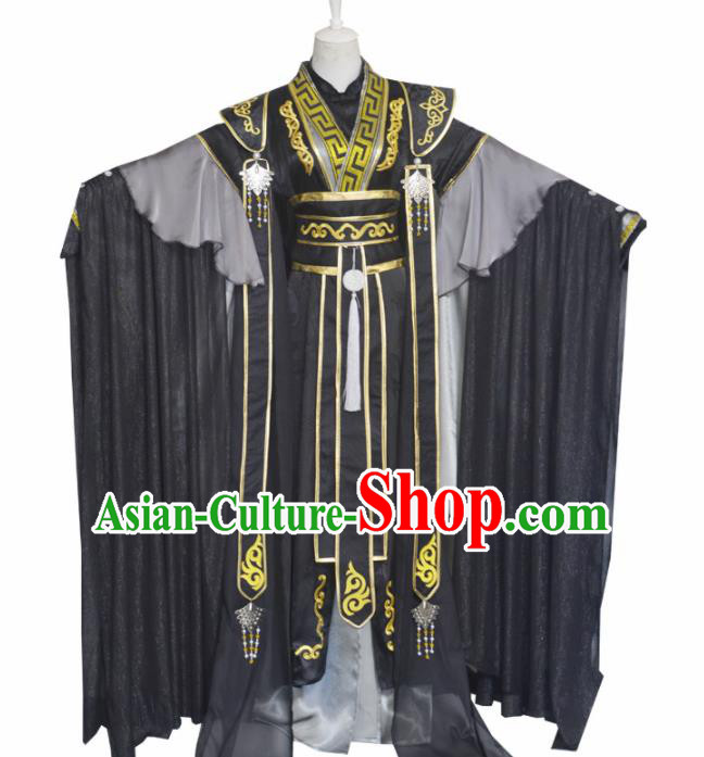 Traditional Chinese Cosplay Crown Prince Clothing Ancient Swordsman Costume for Men