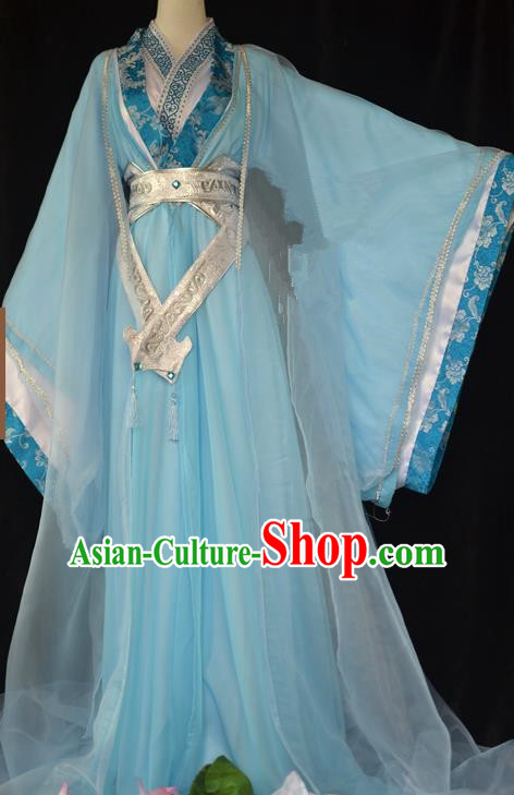 Traditional Chinese Cosplay Swordswoman Blue Hanfu Dress Ancient Peri Princess Costume for Women