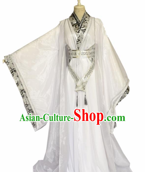 Traditional Chinese Ancient Nobility Childe White Clothing Cosplay Swordsman Costume for Men