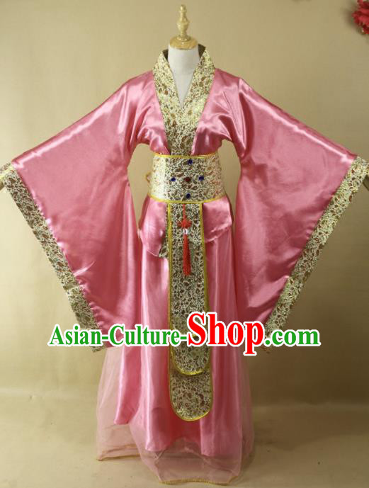Traditional Chinese Han Dynasty Imperial Consort Pink Hanfu Dress Ancient Court Lady Costume for Women