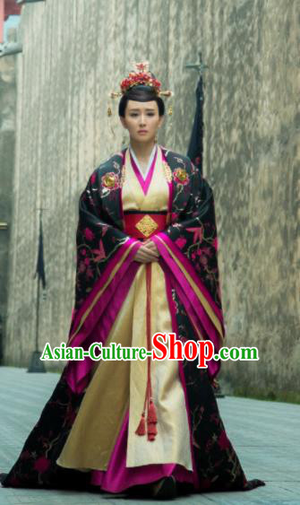 Chinese Ancient Drama Hoshin Engi Shang Dynasty Queen Jiang Historical Costume and Headpiece for Women