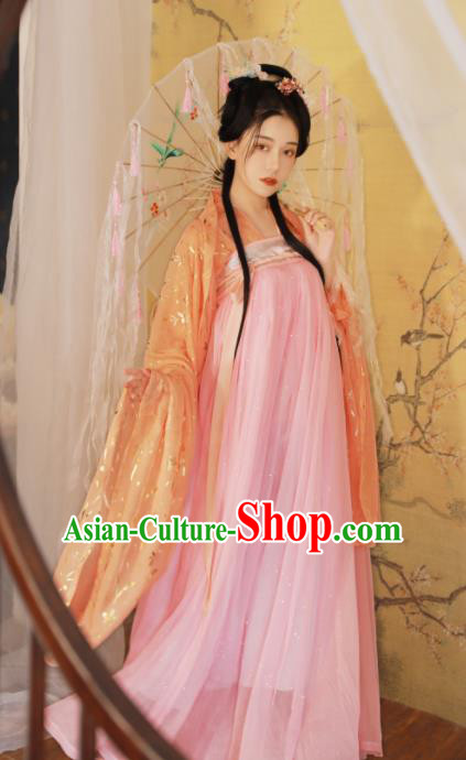Ancient Chinese Tang Dynasty Peri Princess Historical Costume Traditional Court Pink Hanfu Dress for Women