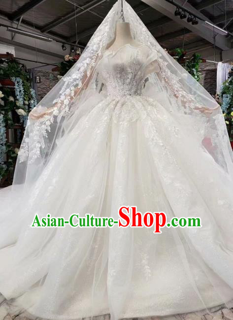 Top Grade Customize Bride White Veil Petal Trailing Full Dress Court Princess Wedding Costume for Women