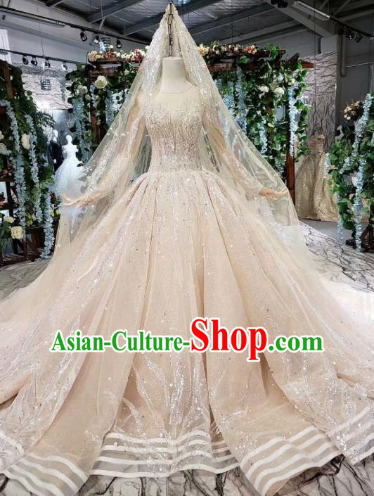Handmade Customize Princess Sequin Beads Trailing Wedding Dress Court Bride Embroidered Costume for Women