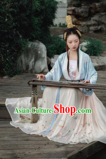 Traditional Chinese Tang Dynasty Princess Embroidered Hanfu Dress Ancient Drama Court Lady Historical Costume for Women
