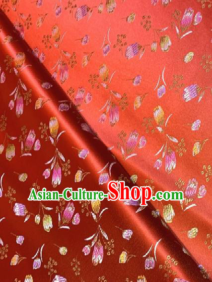 Asian Chinese Traditional Tulip Pattern Design Red Brocade Fabric Silk Fabric Chinese Fabric Asian Material