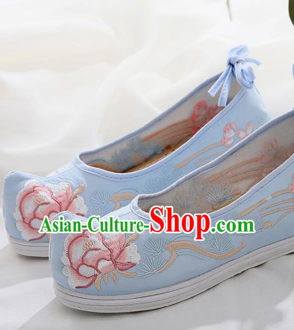 Chinese Traditional Hanfu Shoes Ancient Princess Wedding Blue Embroidered Shoes National Cloth Shoes for Women