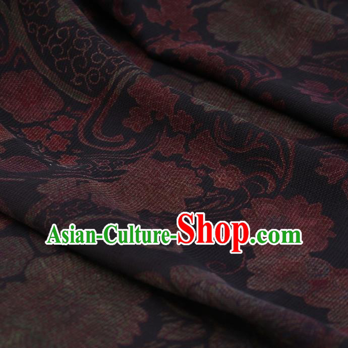 Traditional Chinese Classical Peony Pattern Design Navy Satin Watered Gauze Brocade Fabric Asian Silk Fabric Material