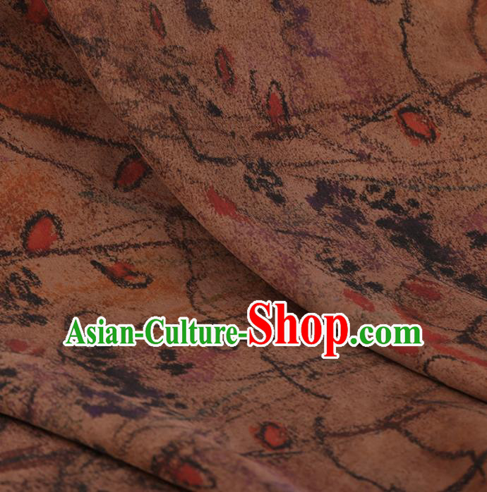 Traditional Chinese Classical Lotus Pattern Design Satin Watered Gauze Brocade Fabric Asian Silk Fabric Material