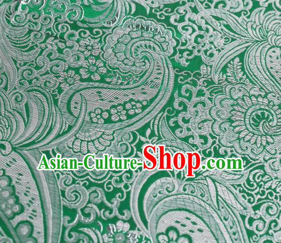 Chinese Classical Charonia Tritonis Pattern Design Green Brocade Asian Traditional Hanfu Silk Fabric Tang Suit Fabric Material