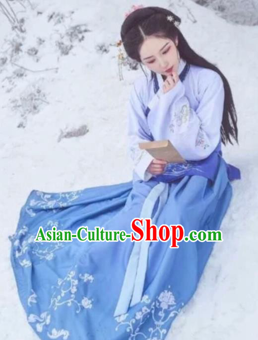 Traditional Chinese Ming Dynasty Aristocratic Lady Embroidered Hanfu Dress Ancient Drama Historical Costume for Women