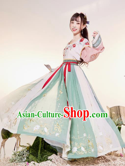 Traditional Chinese Tang Dynasty Palace Princess Embroidered Hanfu Dress Ancient Drama Court Dancer Historical Costume for Women
