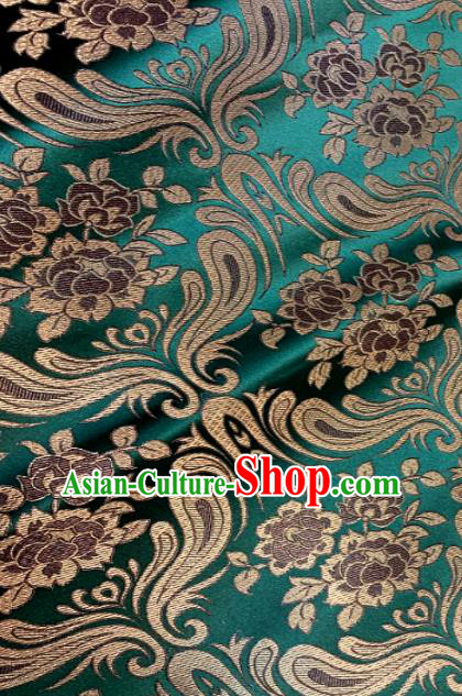 Chinese Classical Birdfoot Pattern Design Green Brocade Drapery Asian Traditional Tang Suit Silk Fabric Material