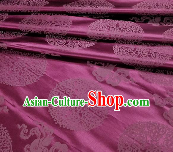Traditional Chinese Classical Ribbon Cucurbit Pattern Design Fabric Purple Brocade Tang Suit Satin Drapery Asian Silk Material