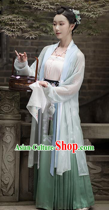 Traditional Chinese Song Dynasty Young Hostess Embroidered Hanfu Dress Ancient Drama Historical Costume for Women