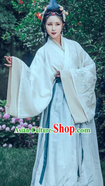 Traditional Chinese Jin Dynasty Embroidered Hanfu Dress Ancient Drama Imperial Consort Historical Costume for Women