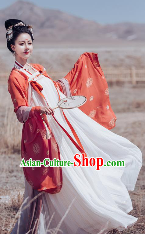 Traditional Chinese Ancient Imperial Consort Embroidered Historical Costume Tang Dynasty Court Hanfu Dress for Women
