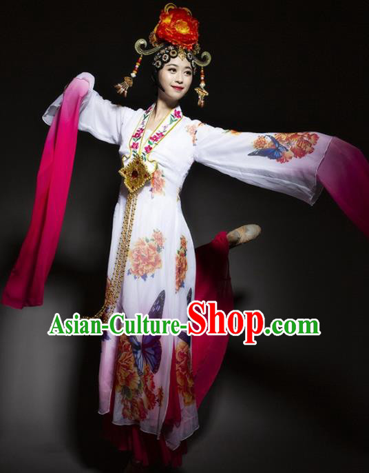 Chinese Traditional Dance White Dress Classical Dance Water Sleeve Beijing Opera Costume for Women