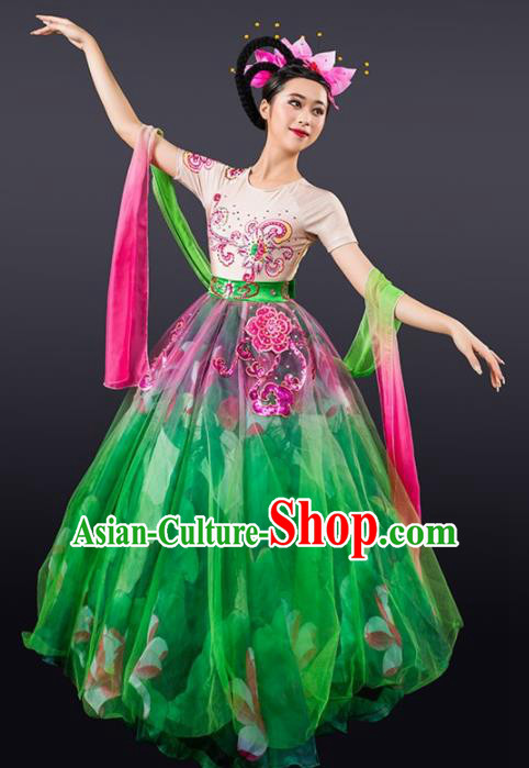 Chinese Spring Festival Gala Modern Dance Green Dress Opening Dance Stage Performance Costume for Women