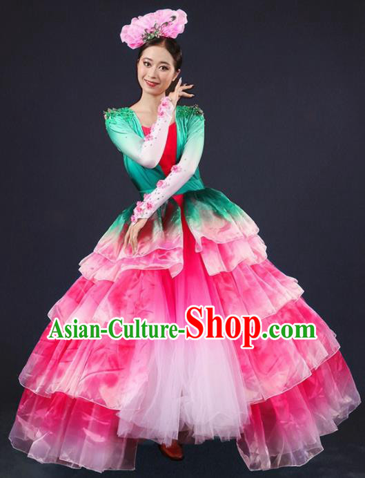 Chinese Spring Festival Gala Modern Dance Pink Dress Opening Dance Stage Performance Costume for Women
