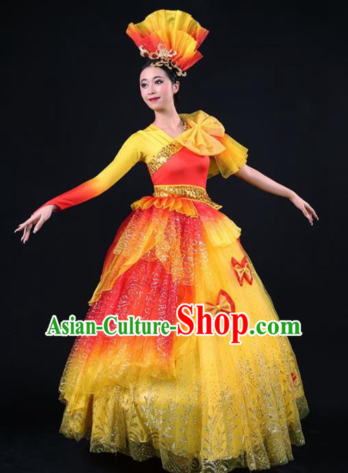 Chinese Spring Festival Gala Modern Dance Yellow Dress Opening Dance Stage Performance Costume for Women