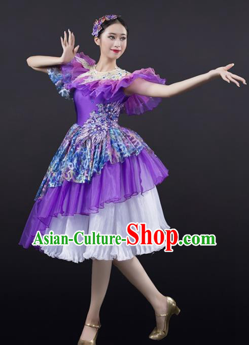 Chinese Spring Festival Gala Modern Dance Purple Dress Opening Dance Stage Performance Costume for Women