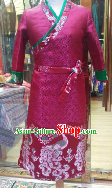 Chinese Traditional Zang Nationality Female Dress Rosy Tibetan Robe Ethnic Dance Costume for Women