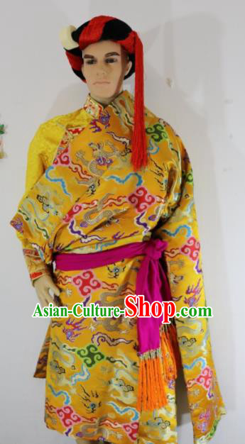 Chinese Traditional Zang Nationality Clothing Golden Tibetan Robe Ethnic Dance Costume for Men