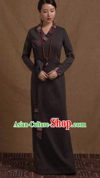 Chinese Traditional Ethnic Tibetan Robe Zang Nationality Female Grey Dress Costume for Women