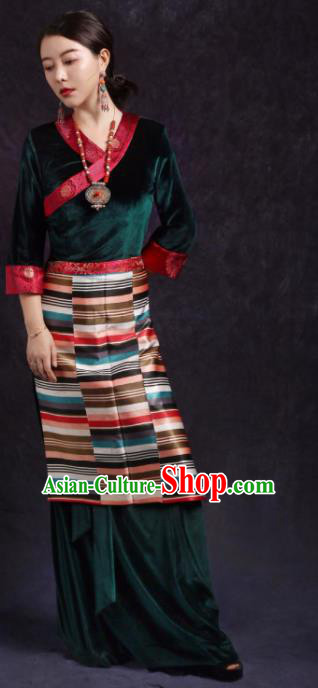 Chinese Traditional Ethnic Tibetan Robe Zang Nationality Female Green Dress Costume for Women