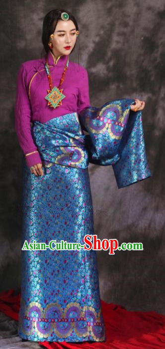 Chinese Traditional Ethnic Bride Blue Tibetan Robe Zang Nationality Female Dress Wedding Costume for Women