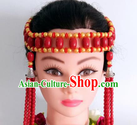 Chinese Traditional Mongol Nationality Red Beads Tassel Hair Clasp Mongolian Ethnic Dance Headband Accessories for Women