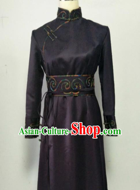 Chinese Traditional Mongolian Ethnic Purple Robe Mongol Nationality Female Dress Costume for Women