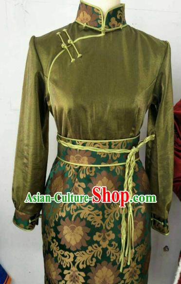 Chinese Traditional Mongolian Ethnic Green Robe Mongol Nationality Female Dress Costume for Women